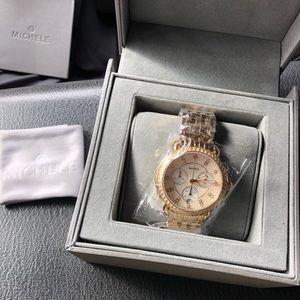 New Women's Michele Sidney Diamond Gold Watch